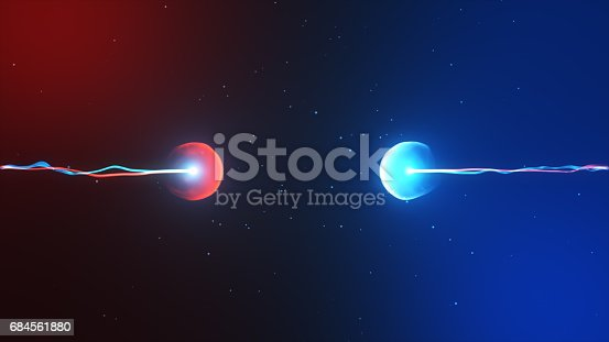 istock Two particles ready to collide to one another artistic image 684561880