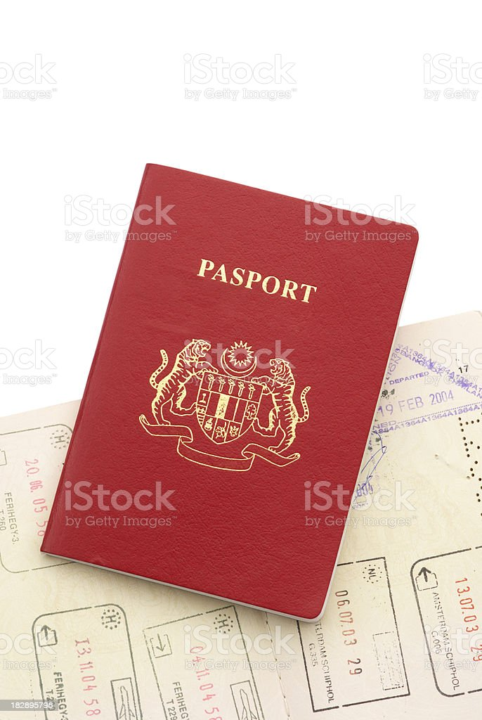 Two Passport stacking Isolated royalty-free stock photo