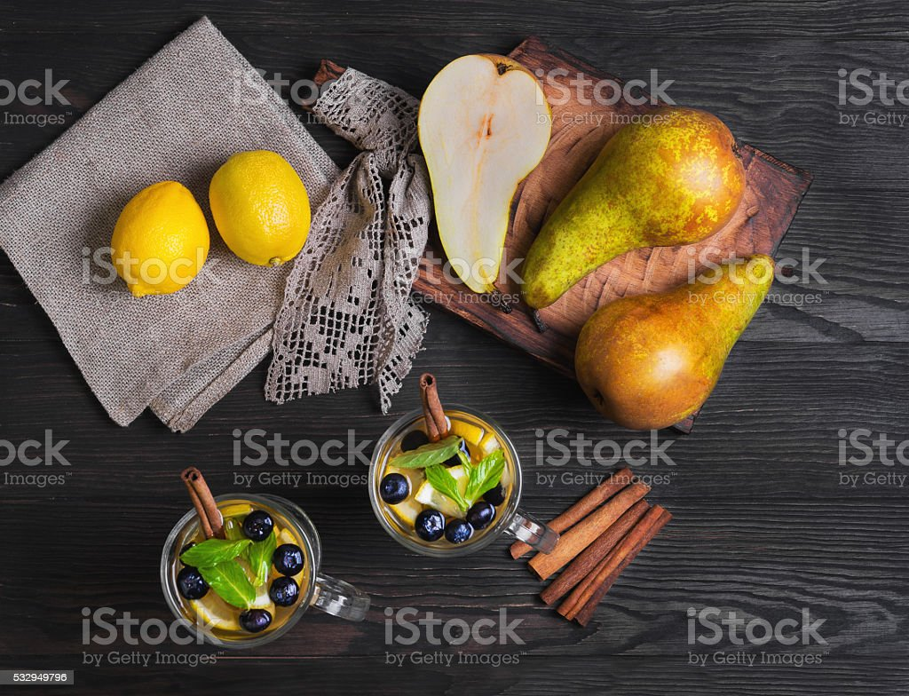 Two pears cocktail stock photo