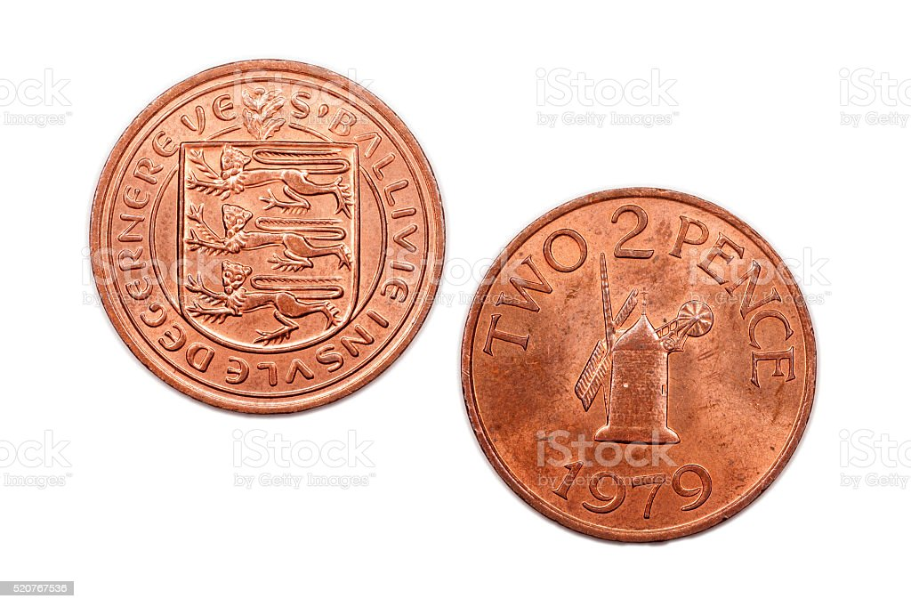 Two Pence Coin From Guernsey 1979 Stock Image
