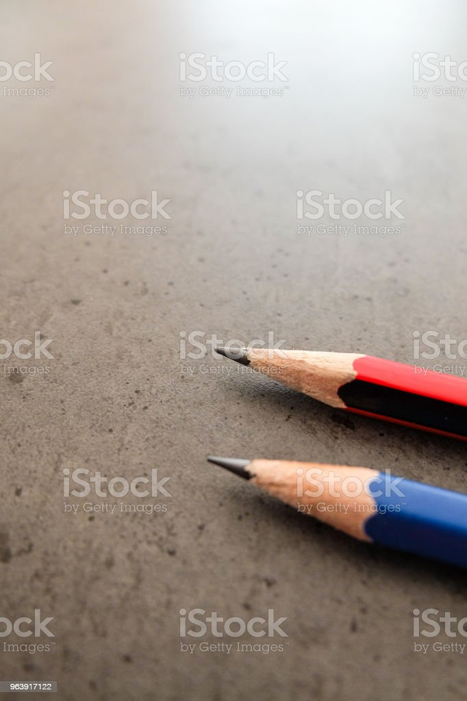 Two pencils on a dark gray table - Royalty-free Black Color Stock Photo