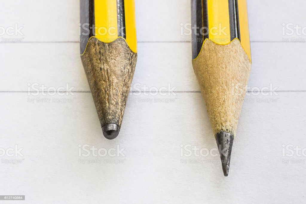 Two pencils, sharp and dull - Photo