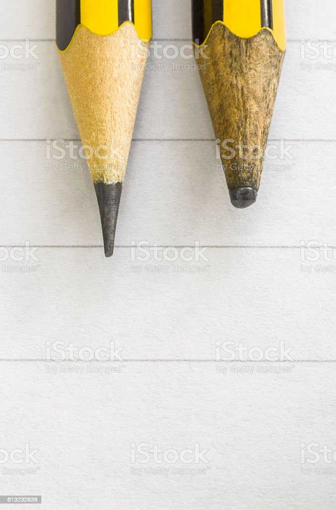 Two pencils, sharp end and dull end - Photo