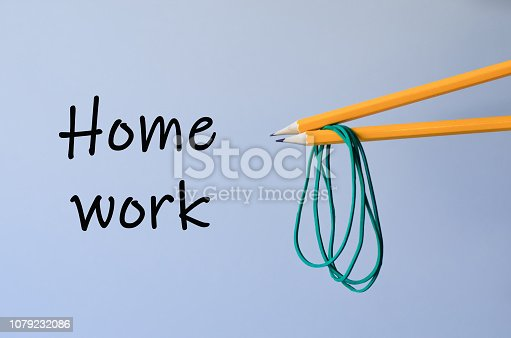 istock Two pencils with rubber bands. 1079232086