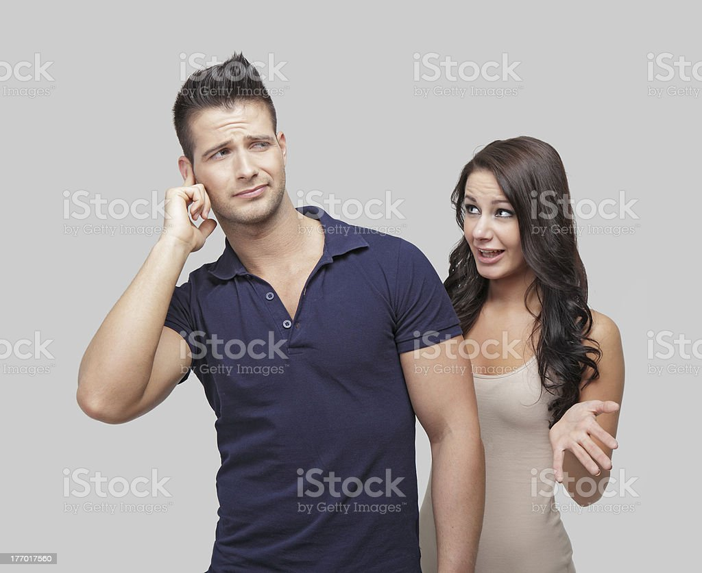 Two people arguing with each other stock photo