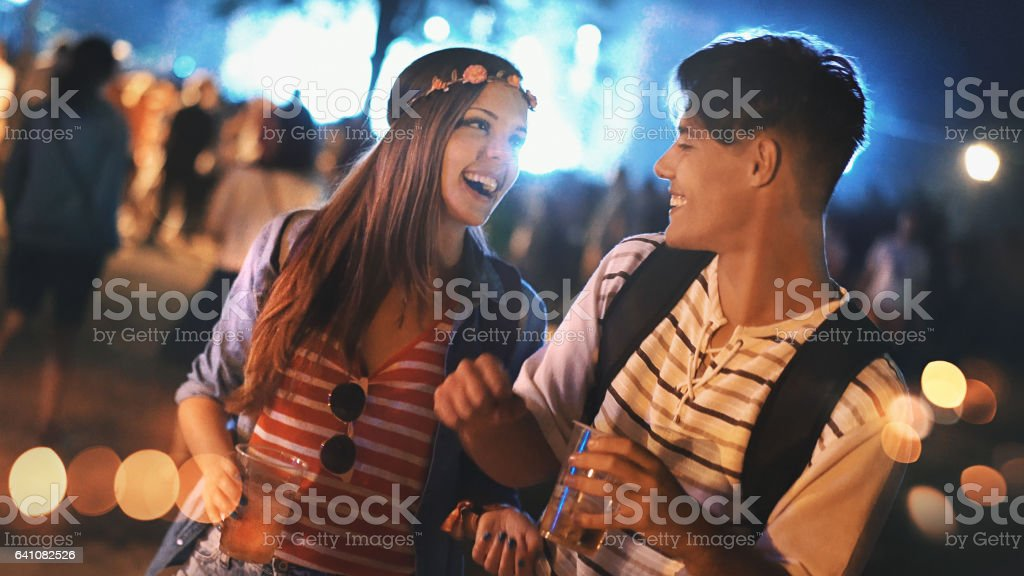 Two people at a concert. stock photo
