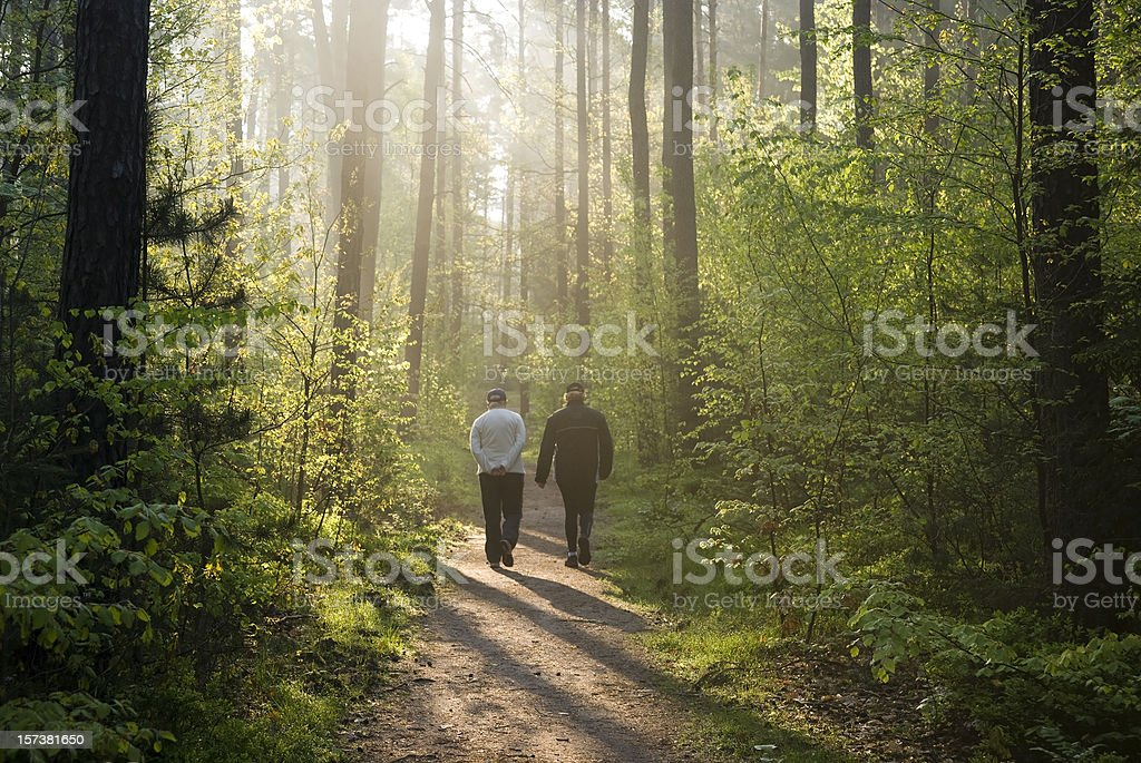 two people at Morning walk in forest stock photo