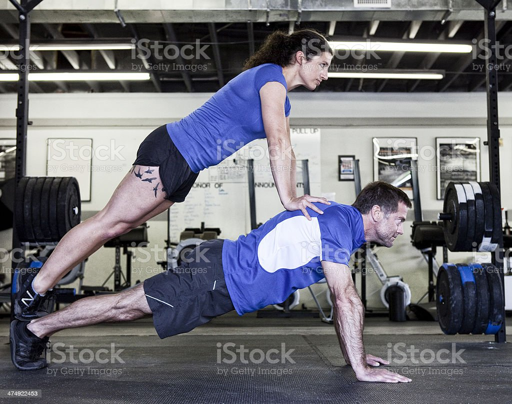 Two People Balance Training in Gym royalty-free stock photo