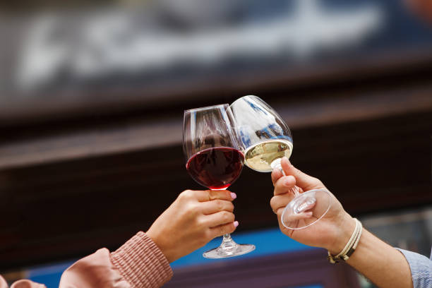Two people clinking glasses with red and white wine Two people clinking glasses with red and white wine on blurred background. Man and woman cheers with alcohol drink closeup white wine stock pictures, royalty-free photos & images