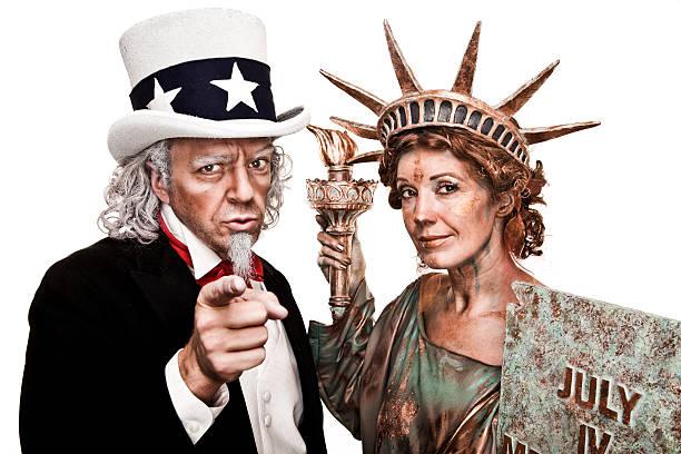 patriotic wuj sam i lady liberty chcesz! - uwiedzenie zdjęcia i obrazy z banku zdjęć