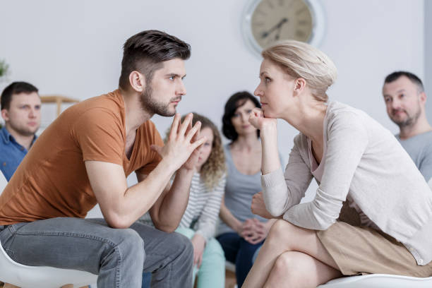 Two people during psychotherapy stock photo