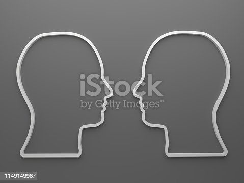 Two people head 3d draw