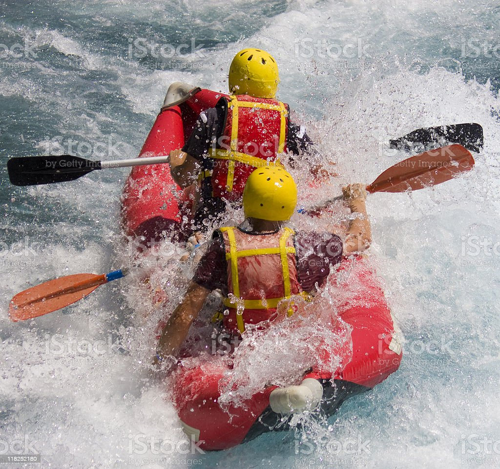 Two People In Protective Sportswear On Rafting Boat In River royalty-free stock photo
