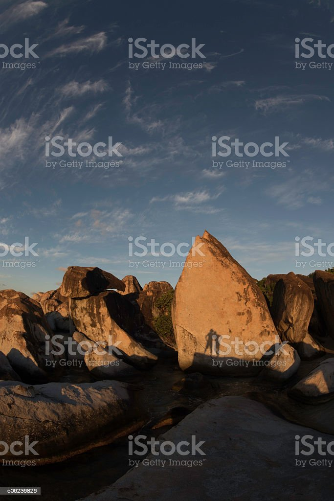 Two people making shadows stock photo