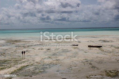Low tide / two people walking on sand