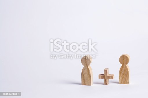 istock Two people with a plus in between. Wooden figures of persons. Friends, relatives, lovers. Social mathematics. Partner. Man plus man on white background. A new person, additional help. 1033730012