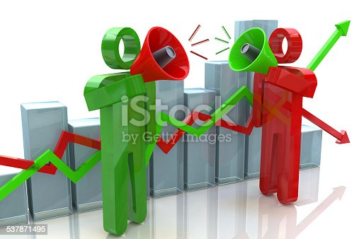 istock Two people with megaphone and business chart 537871495