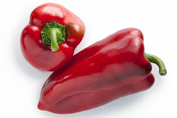 dois peppers - red bell pepper isolated imagens e fotografias de stock
