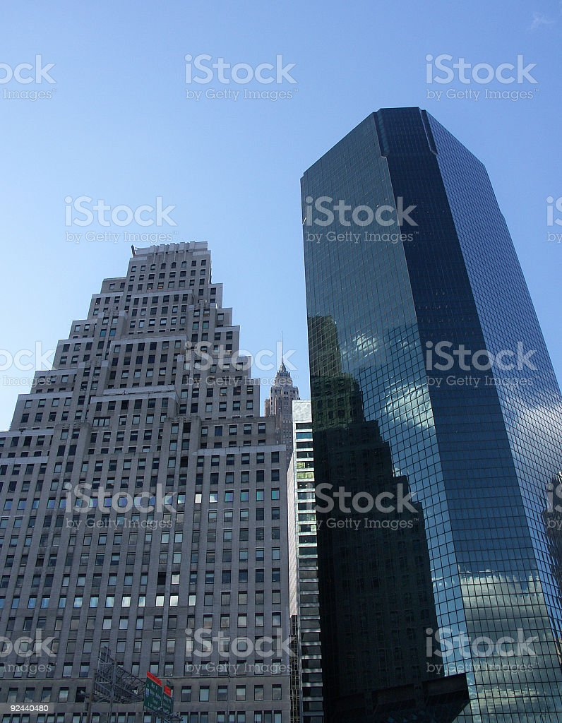 Two periods of the scyscrapers' architecture royalty-free stock photo