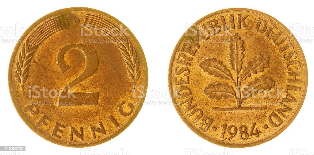 two pfennig 1984 coin isolated on white background, Germany stock photo