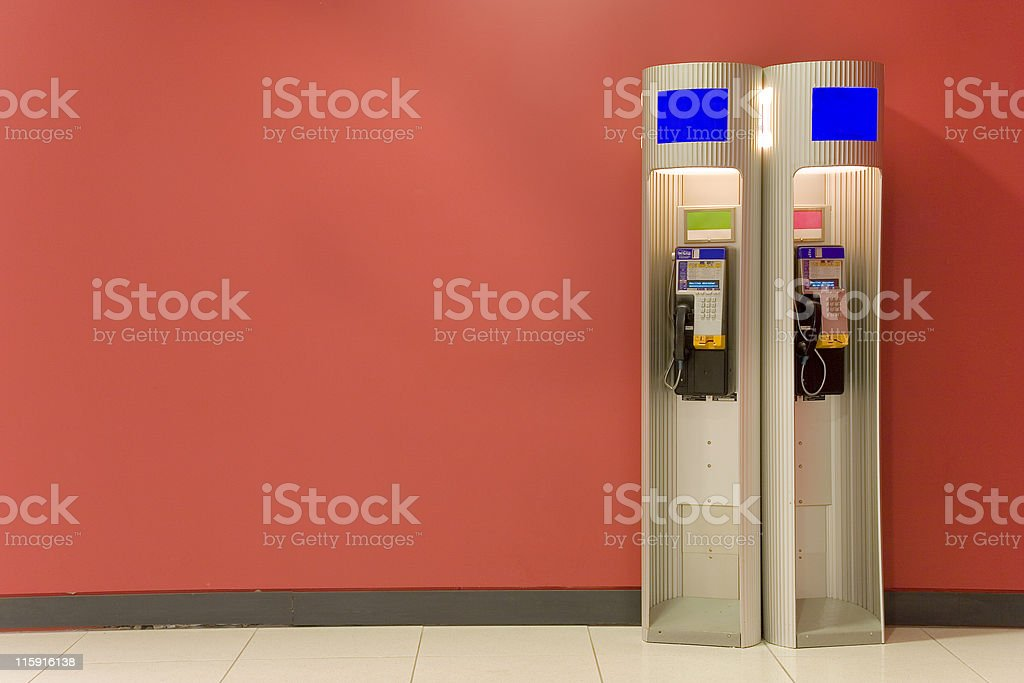 Two Phone booths royalty-free stock photo