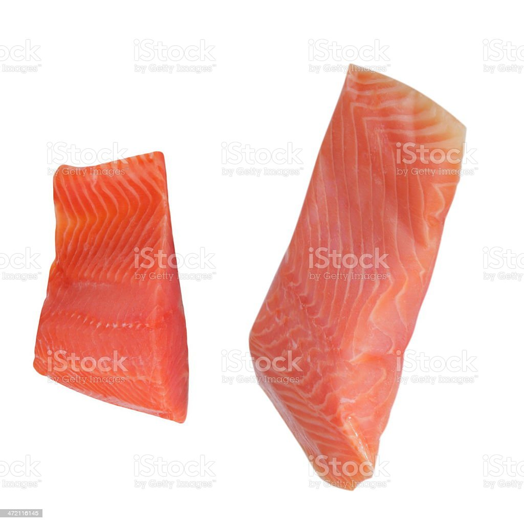 Two Piece of Red Fish Fillet Isolated on White royalty-free stock photo