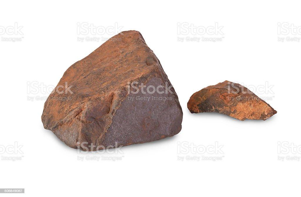 Two pieces of iron ore stock photo