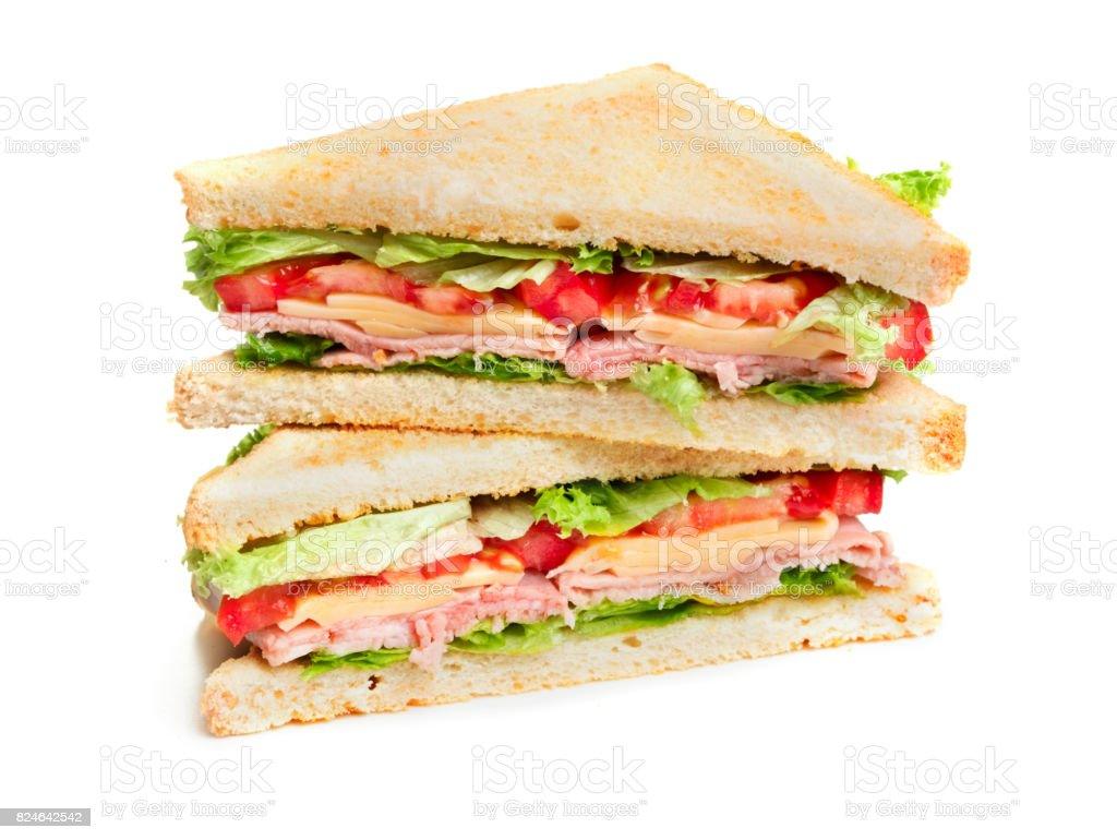 two pieces of sandwich stock photo