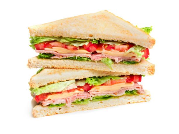 two pieces of sandwich - panino ripieno foto e immagini stock