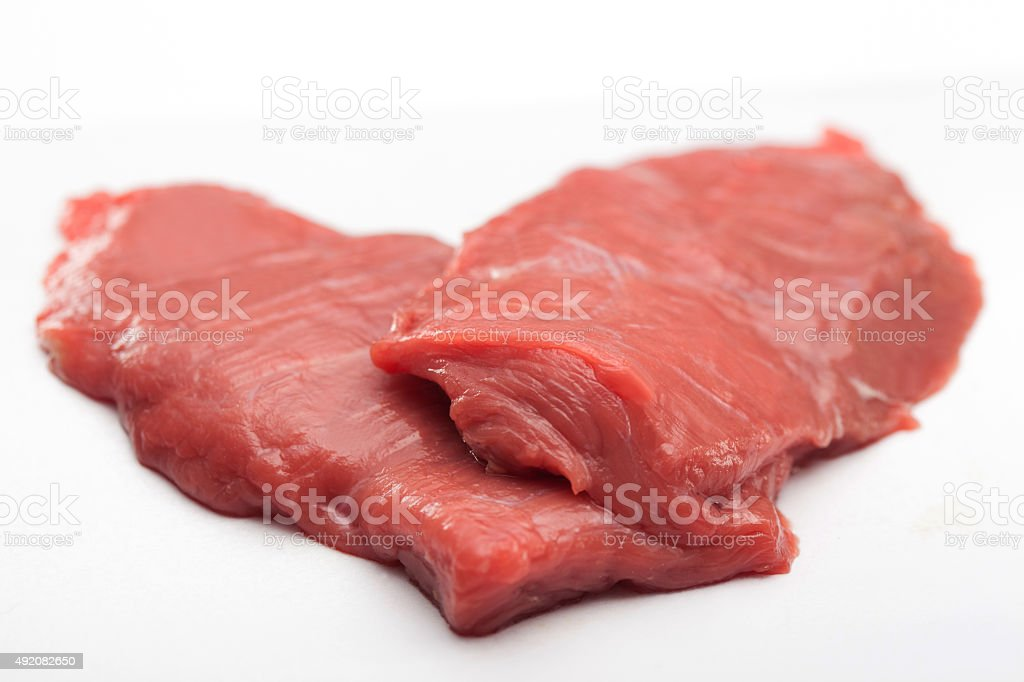 Two Pieces of Uncooked Raw Fillet Steaks stock photo