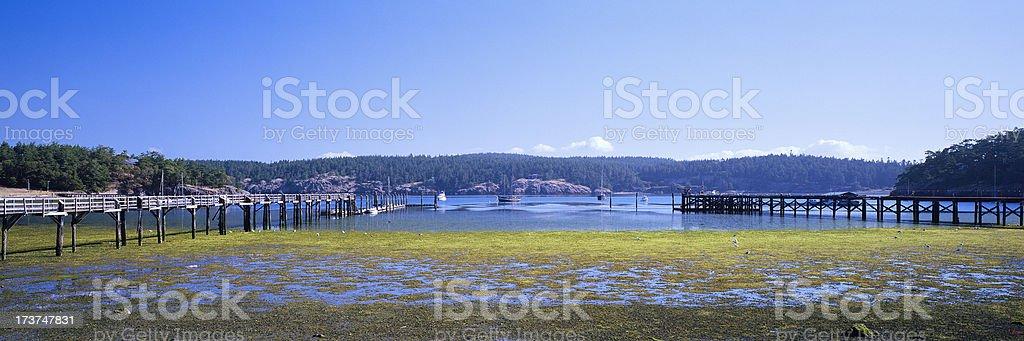 Two Piers, Barlow Bay, Washington, United States royalty-free stock photo