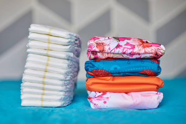 Two piles of diapers stock photo