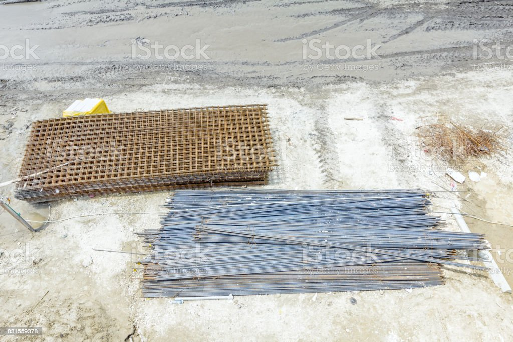 Two piles of reinforcing mesh, armature stacked temporarily stock photo