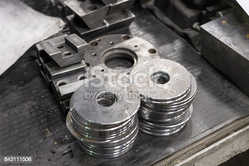 istock Two piles of round metal washers 843111506
