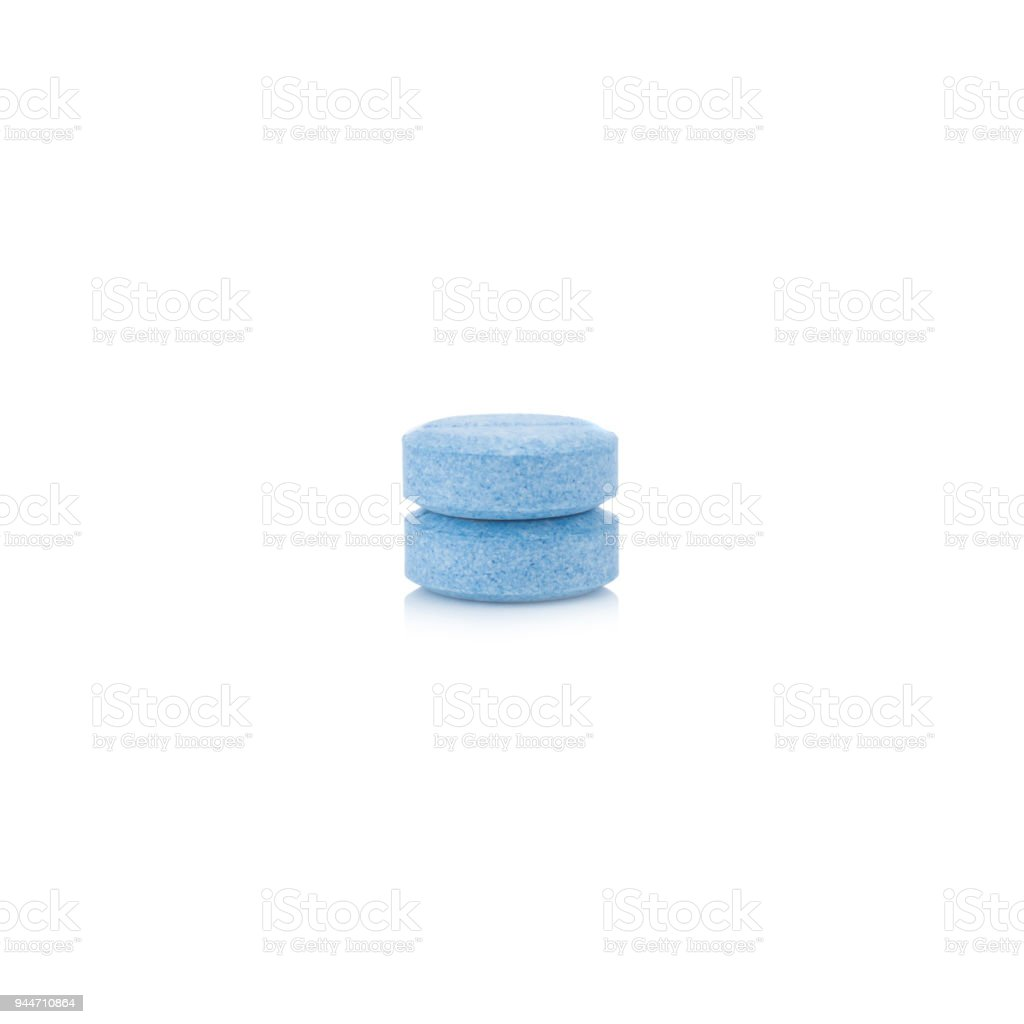 Two pill circle blue isolated on white background stock photo