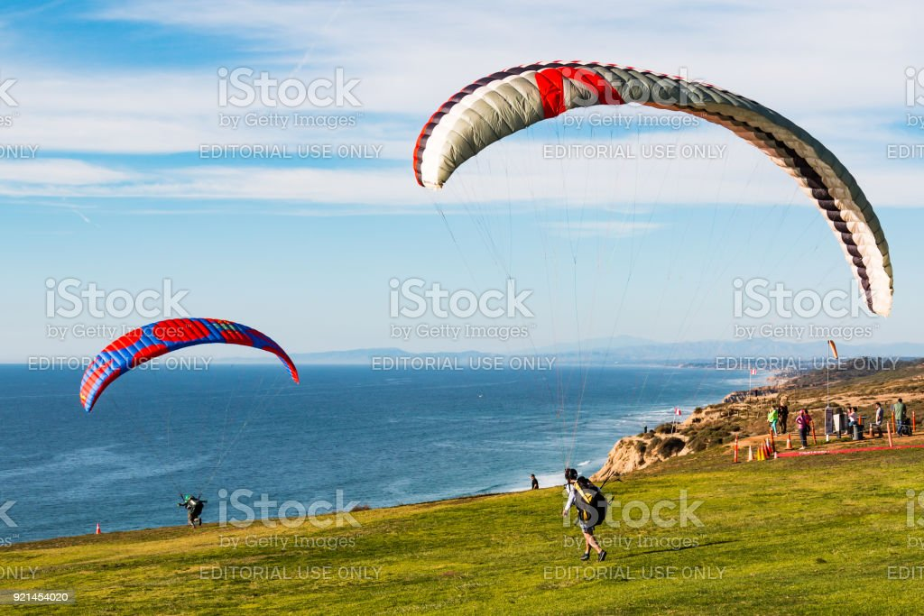 Two Pilots Launch Paragliders at Torrey Pines Gliderport stock photo