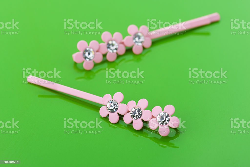 Two pink barrettes stock photo