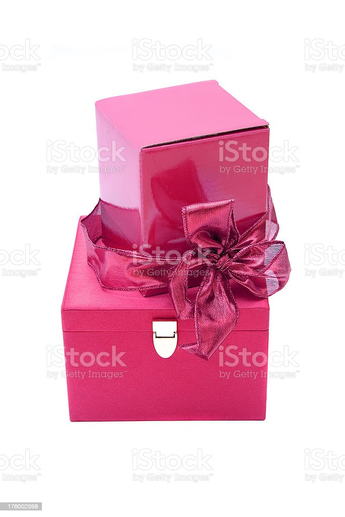 Two pink boxes royalty-free stock photo