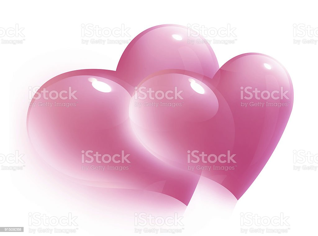 two pink hearts for valentine day, isolated royalty-free stock photo