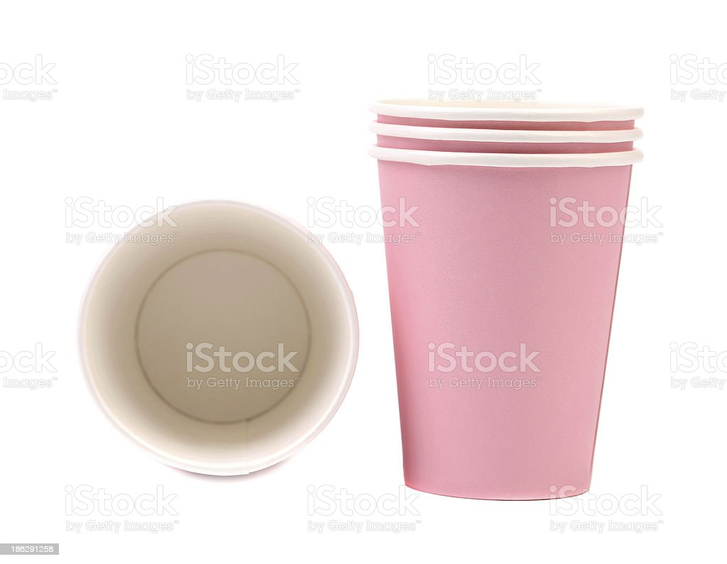 Two pink paper coffee cup. royalty-free stock photo