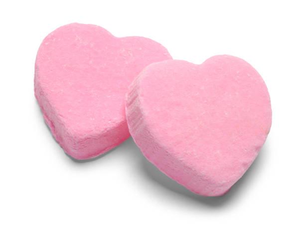 兩個粉紅色的情人節糖果心 - white background 個照片及圖片檔