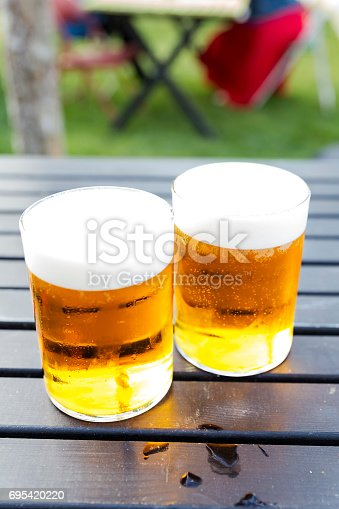 183064447 istock photo Two pints of cold beer 695420220