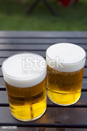 183064447 istock photo Two pints of cold beer 695420780