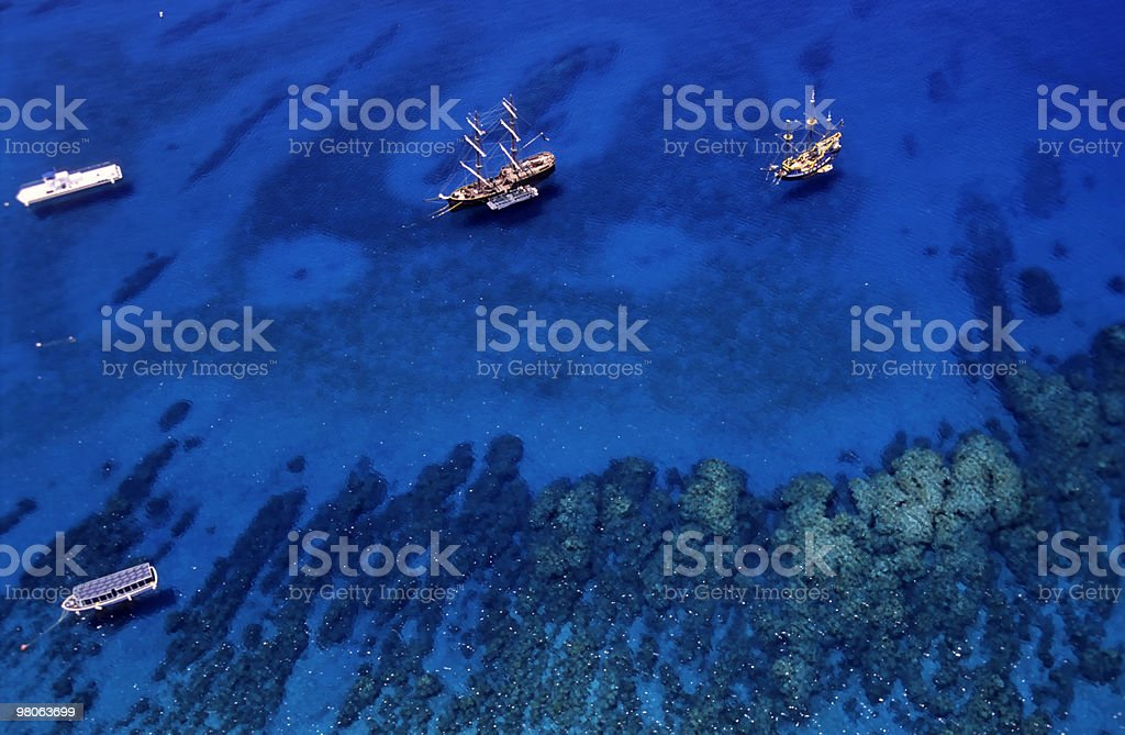 Two pirate boats at Caribbean royalty-free stock photo