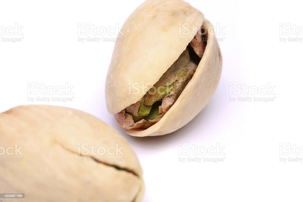 Two pistachios close-up royalty-free stock photo