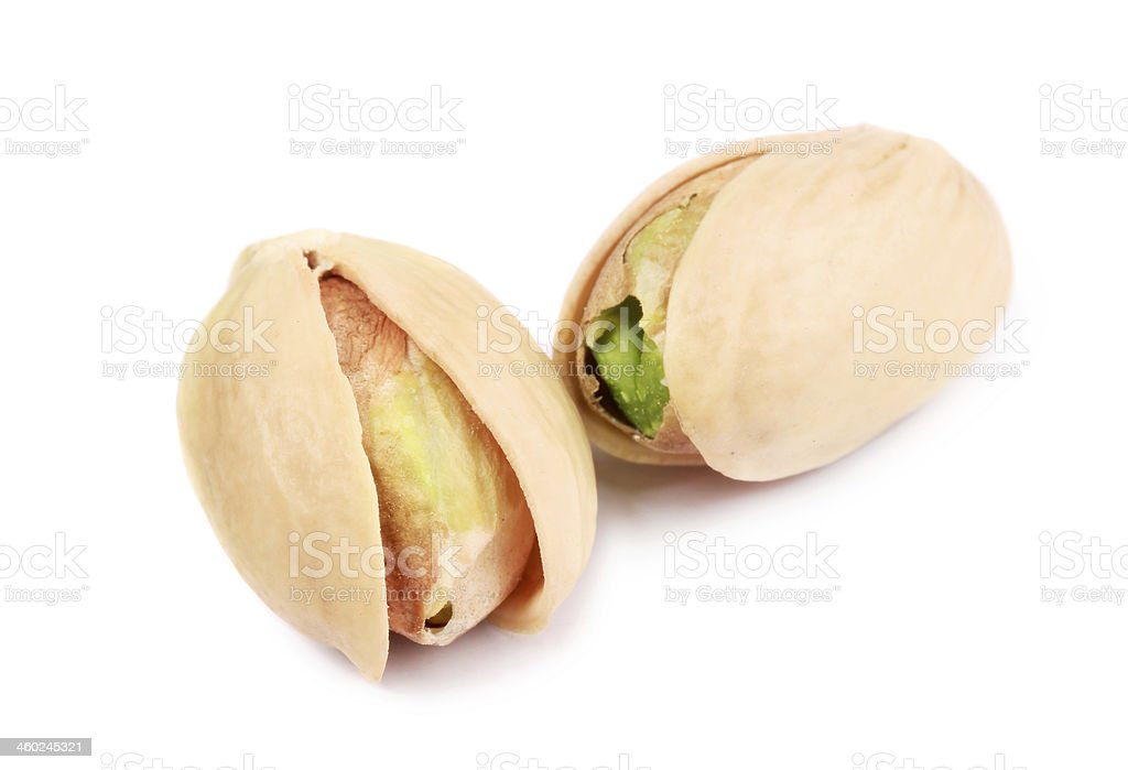 Two pistachios close-up. stock photo