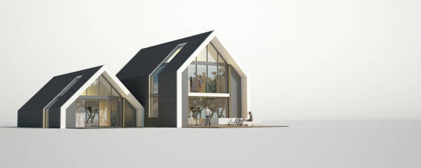 Two pitched roof buildings mock up stock photo