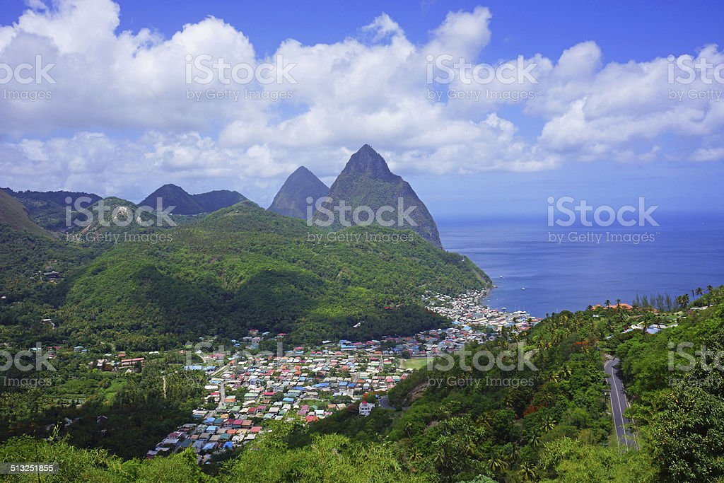 Two Pitons and Soufriere stock photo