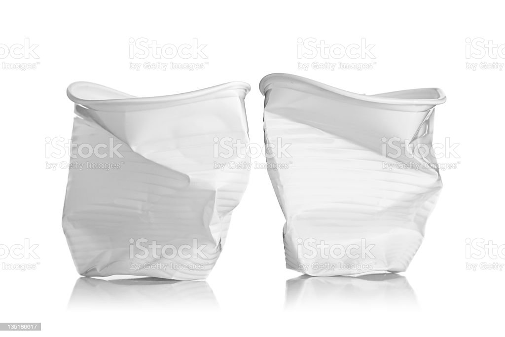 two plactic cups stock photo