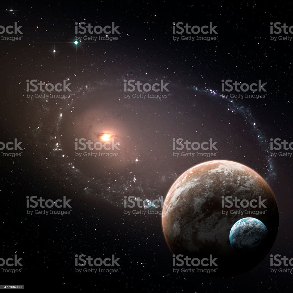 Two planets in the deep space stock photo